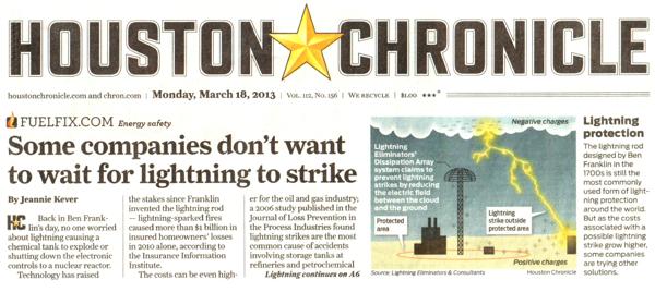 Lightning Strikes on the Houston Chronicle Frontpage!