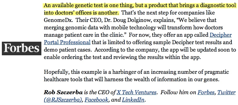 """Forbes covers Visible Health's Decipher on """"improving cancer treatment options"""""""