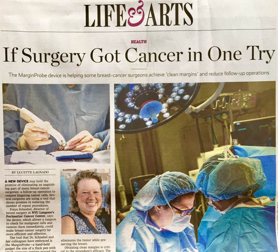 Client Dune Medical lands print, online and video in The Wall Street Journal for MarginProbe medical device!