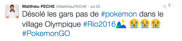 "Translation: ""Sorry guys no #pokemon in the Olympic Village"" Olympic canoer - France"