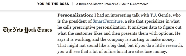 New York Times covers SmartFurniture's ecommerce vision