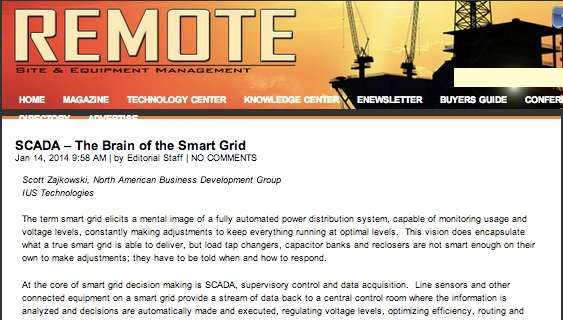 IUS' Thought Leaders Demystify SCADA for Smart Grid