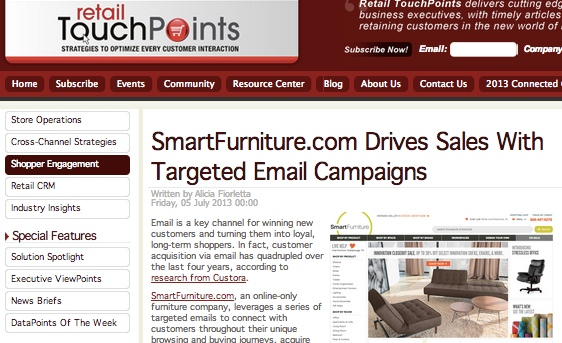 SmartFurniture's Email Marketing Campaign Scores Retail Touch Points