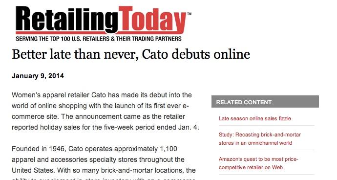 Celerant Technologies Enables Ecommerce Debut for Cato Fashion Retailer