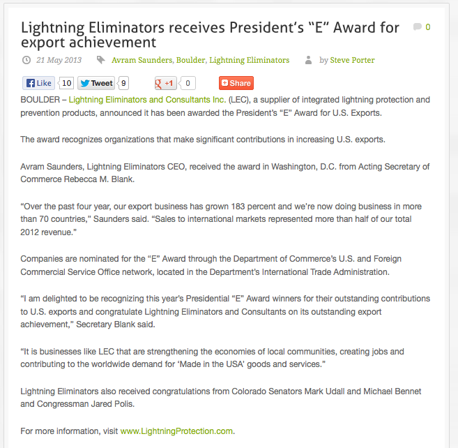 Oil and Gas PR Client Receives Award from The President