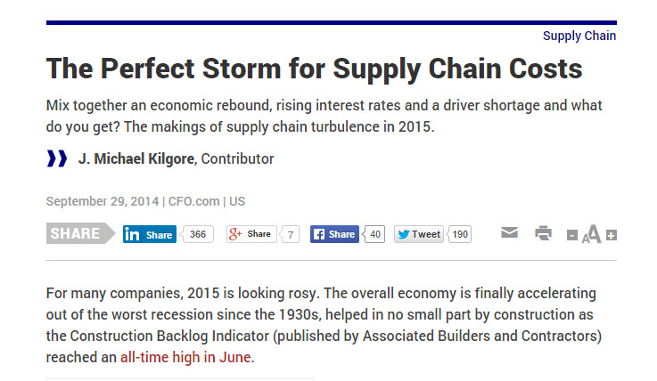 Chainalytics CEO Shares Insights on 2015 Global Supply Chains with the Media